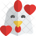 Chicken Smiling With Hearts Animal Wildlife Icon