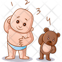 Child And Teddy Doing Exercise Icon
