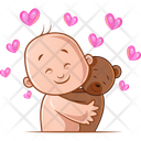 Child And Teddy In Love Icon