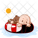 Child And Teddy In Water Icon
