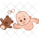 Child And Teddy Saying Ok Icon