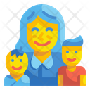 Children And Mother Icon