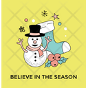 Winter Season Snowman Icon