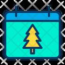 Calendar Schedule Xmas Tree Icon