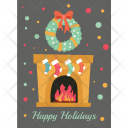 Christmas Fireplace Card Icon