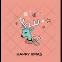 Reindeer Head Christmas Icon