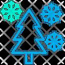 Decoration Pine Tree Snowflake Icon