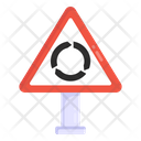Circular Intersection Road Post Traffic Board Icon