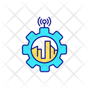 City Buildings And Gear Abstract Illustration Icon