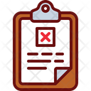 Clipboard Reject Report Reject Document Icon