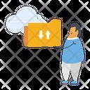 Cloud Data Data Downloading Data Uploading Icon
