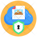 Cloud File Cloud Data Security Cloud Data Safety Icon