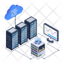 Cloud Servers Data Centers Cloud Databases Icon