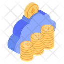 Cloud Money Bitcoin Cloud Digital Money Icon