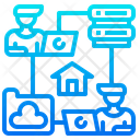 Cloud Server Worker Work From Home Icon