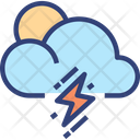 Cloud Sun Thunder Icon