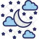 Clouds Moon Stars Icon