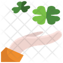 Hand St Patrick Day Clover Icon