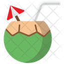 Coconut Umbrella Straw Icon