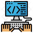 Coding Hand Monitor Icon