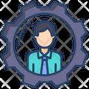 Cogwheel Female Manager Woman Icon