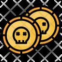 Coin Halloween Skull Icon