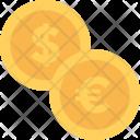 Coins Euro Dollar Icon
