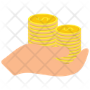 Coins Stacked On A Hand Palm Coin Dollar Icon