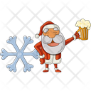 Cold Santa With Beer Glass Icon
