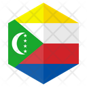 Comoros Flag Hexagon Icon