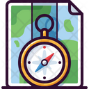 Compass With Map Icon