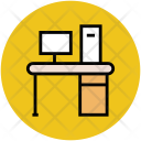 Computer Table Workstation Icon