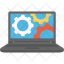 Computer Laptop Cogwheels Icon