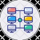 Computer Network Accesses Block Chain Icon