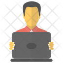 Computer Operator Accountant Male Employee Icon