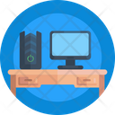 Office Table Monitor Desktop Icon