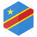Congo Flag Hexagon Icon
