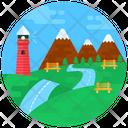 Landscape Hill Station Scenery Icon