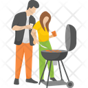 Outdoor Food Picnic Food Couple Cooking Icon