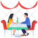 Couple Date Romantic Date Table Talk Icon