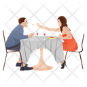 Couple Dinner Couple Date Lovers Icon