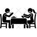 Couple Dinner Together Eating Dinner Icon