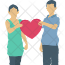Couple With Hearts Loved Couple Boy Icon