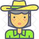 Cowgirl Farmer Hat Icon