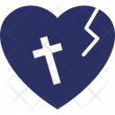 Cracked Heart Cross Halloween Icon