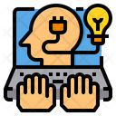 Laptop Hand Human Mind Icon