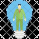 Creative Person Idea Bulb Luminous Idea Icon