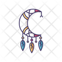 Crescent And Feathers Amulet Icon