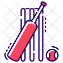 Cricket Game Equipment Bat Ball Cricket Icon