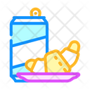 Croissant And Drink Croissant Snack Icon